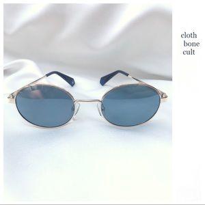 POLAROID Gold & Blue Oval Mirrored SUNGLASSES 💙